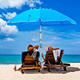 Keten 6.5ft Beach Umbrella with Sand Anchor & Tilt Mechanism, Portable UPF 100+ Protection Windproof Patio Umbrella with Carry Bag & Four Prongs Hanging Hook for Garden Beach Outdoor (Sky-Blue)