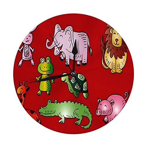 FETEAM Reloj de Pared sin tictac 9,8 Pulgadas Reloj Redondo Digital de Dibujos Animados de Animales Lindos