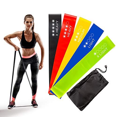PULSTEC Premium Widerstandsbänder Set – Theraband/Gummiband/Fitnessband Set/Kraftsport für Frauen und Männer – Home Fitness Sport – Mit Workout Krafttraining Anleitungen und Tragetasche 6-Teilig