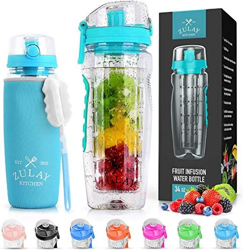 Zulay 34oz Capacity Fruit Infuser Water Bottle With Sleeve BPA Free Anti Slip Grip Flip Top product image