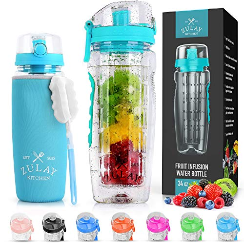 Zulay (34oz Capacity) Fruit Infuser Water Bottle With Sleeve - BPA Free Anti-Slip Grip & Flip Top Lid Infused Water Bottles for Women & Men - Water Infusion Bottle With Cleaning Brush - Lake Blue