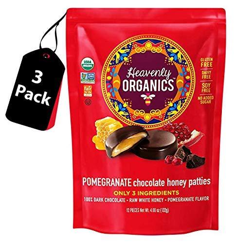 Heavenly Organics Pomegranate Chocolate Honey Patties (3 Bags) Made with 100% Organic Cocoa and 100% Organic Raw White Honey; Non-GMO, Fair Trade, Kosher, Dairy & Gluten Free, No Sugar Added
