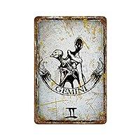ジェミニ さびた錫のサインヴィンテージアルミニウムプラークアートポスター装飾面白い鉄の絵の個性安全標識警告アニメゲームフィルムバースクールカフェ40cm*30