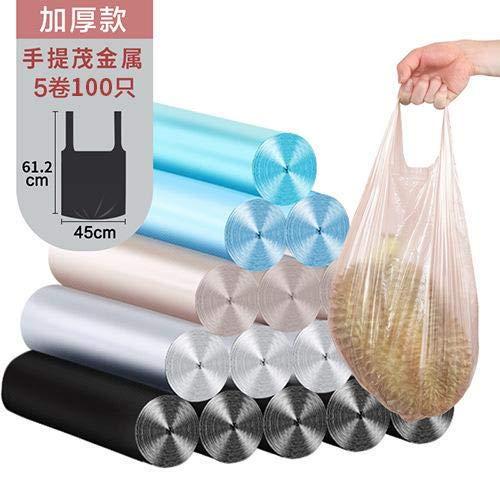 Mdsfe wegwerpzak van kunststof, voor huisvuil, zilverkleurig, van staal, draagbaar, plat, 100 stuks, willekeurige kleurkeuze, A1