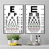 LILHXIU Moderno Vintage Poster Eye Vision Test Wall Art Lienzo Pintura Arte Impresión Cuadro Pared para Hospital Óptico Tienda Sin Marco