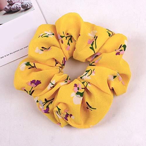 JSZWGC Imprimé Floral Chouchous Femmes Dot Ties Cheveux élastiques Serre-tête Femme Accessoires Cheveux Filles Porte-Queue de Cheval (Color : Yellow)