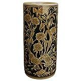 Geko - Portaombrelli in ceramica goffrata, motivo floreale grigio/bianco
