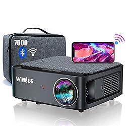 🌲【7500 Vidéoprojecteur WiFi Bluetooth Full HD 1080P Supporte 4K】Ce dernier Vidéoprojecteur Full HD 1080P WiMiUS K1 est livré avec une Sacoche. Il possède une résolution native 1920*1080p, une haute luminosité 7500, et un ratio de contraste jusqu'à 10...