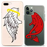 Cavka Matching Couple Cases Replacement for iPhone 12 Pro 5G Mini 11 Xs Max 6s 8 Plus 7 Xr 10 SE X 5 Angel Devil Wings Kawaii Funky Clear Red White Girlfriend Silicone Cover Anniversary Bestie Cute