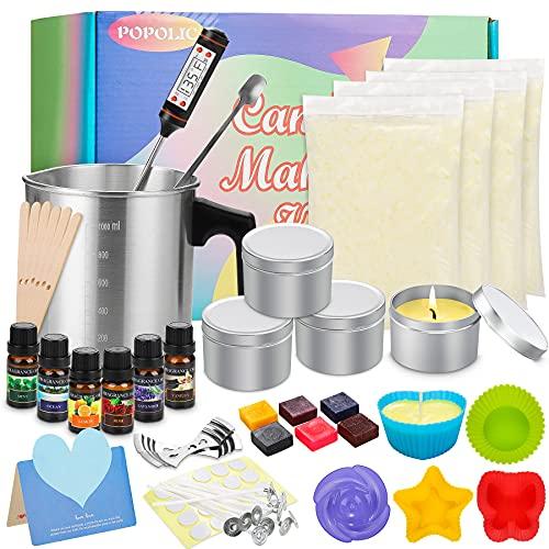 Pack para hacer velas artesanales, Velas Perfumadas de Regalo, Kit de Velas Perfumadas, Cera de Soja Regalos Originales para Mujer, DIY Juego de Soja de Lata para Aliviar el Estrés