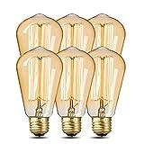 Paquete de 6 bombillas Edison, ICONNTECHS Bombillas Edison, Luz Estilo Antiguo Vintage, 40W, 220V, E27, Ámbar Cálido, 280 Lúmenes, ST64 Luces Edison Regulables para iluminación del Hogar y Decorativa