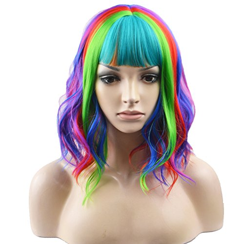 BERON 14 Inches Rainbow Wig Short Curly Wig Women Girl's Synthetic Wig Rainbow Wig with Bangs Wig Cap Included