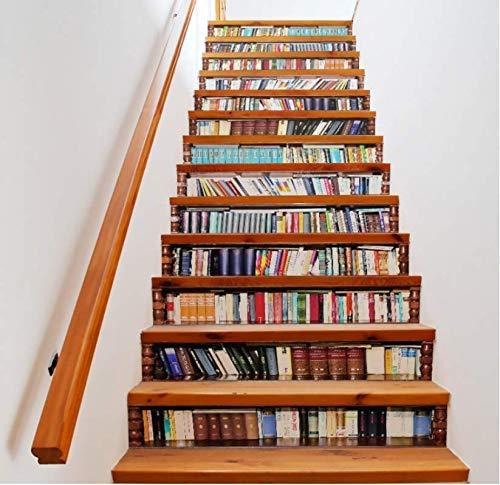 tonywu Escalera Decorativa Libros creativos Librería Salón 3D Patrón Tema Escaleras Pegatinas Vida en el hogar Decoración Pegatinas de Piso de Plástico