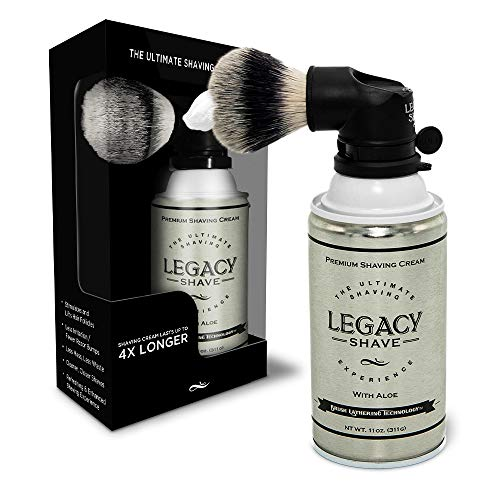 Legacy Shave The Ultimate Shaving Experience - World's 1st Shaving Can Brush Attached to a Can of Premium Shaving Cream w/Aloe works with all razors even Straight, Double Edge - Giftable (Black)