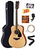 Yamaha FG850 Solid Top Folk Acoustic Guitar - Natural Mahogany Bundle with Hard Case, Tuner, Strings, Strap, Picks, Austin Bazaar Instructional DVD, and Polishing Cloth