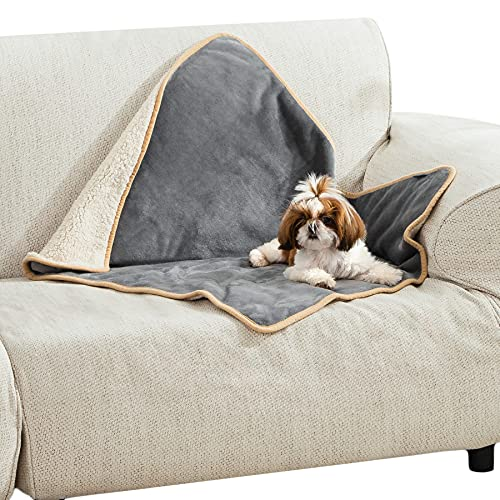 Bedsure Waterproof Dog Blanket for Small Dogs - Sherpa Fleece Pet Puppy Blanket for Couch and Sofas...