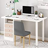 amidoa Computer Desk with Drawers - 39 inch Home Office Modern Desk with Storage Shelves, Kids Writing Desk Student Study Table for Home Office Bedroom Small Spaces (White)