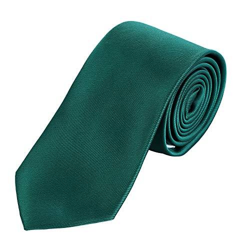 DonDon Herren Krawatte 7 cm klassische handgefertigte Business Krawatte Dunkelgrün für Büro oder festliche Veranstaltungen