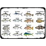 OSONA Placa de metal vintage tipo de pescado para el hogar, bar, bar, cocina, garaje, restaurante, pared, letreros de 8 x 12 pulgadas