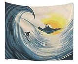 A.Monamour Wanddekor Wandteppiche Tropische Insel Sonnenuntergang Große Ozean Wellen Surfer Auf Surfbrett Anime Stoff Wandteppich Wandbehänge Kunst Dekore Für Kinder Schlafzimmer 180X230Cm / 71'X 90'