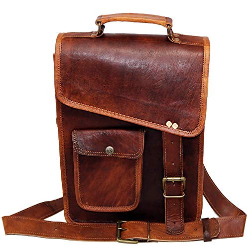 13' Leather Messenger Bag Laptop case Office Briefcase Gift for Men Computer Distressed Shoulder Bag