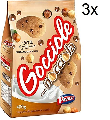 3x Pavesi Barilla Kekse Gocciole Nocciola mit Haselnuss Tropfen 400g kuchen