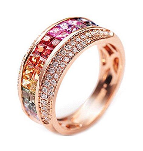 Epinki 18K Oro Anillos(Au750),2.3Ct Cuadrado Corte Redondo Certificado Diamante Zafiro Anillo de Brillantes Anillo de Compromiso Para Mujeres