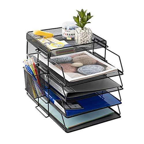 Bandeja apilable de 5 niveles, organizador de papel de oficina, bandeja de archivos, soporte de escritorio para accesorios de cartas de papel con soporte para bolígrafos (negro)