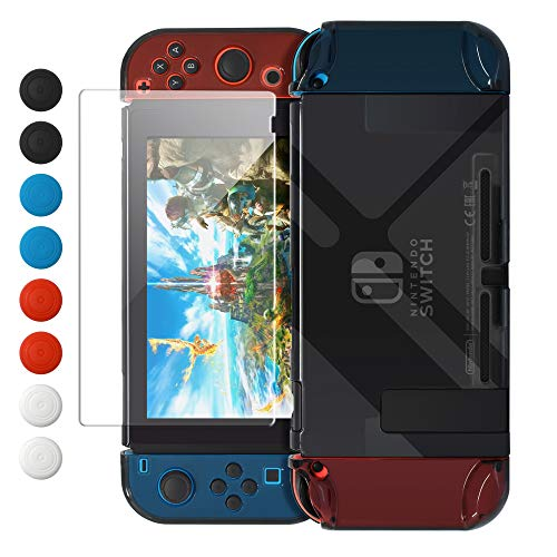 Dockable Case Compatible with Nintendo Switch, FYOUNG Protective Accessories Cover Case Compatible with Switch and Switch Joy-Con with Thumbstick Caps -Black