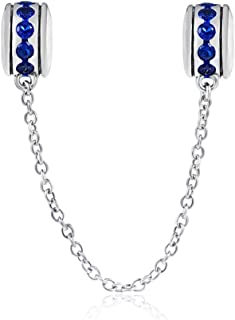 Safety Chain Charm 925 Sterling Silver Clip Charm Stopper Charm for DIY Charm Bracelet (Blue)