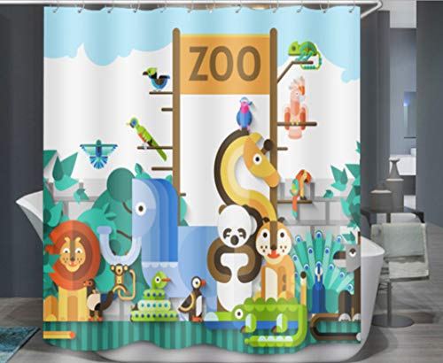 Douchegordijn Waterdichte Badkamer Zoo Dierenprint Gordijn Meeldauw Bad Polyester Gordijn Badkamer Decoratie 180X180Cm