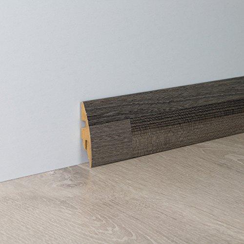Sockelleiste Fußbodenleiste Rundprofil aus MDF in Ulme mit Perlstruktur 2600 x 16 x 58 mm