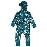 Piccalilly Mono de bebé con capucha, suave algodón orgánico, diseño de oso polar ártico