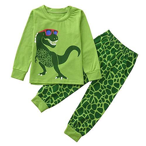 KUKICAT Pyjamas Enfant Service à Domicile Imprimé, Haut à Motif à Motif Dinosaure en Coton à Manches Longues en Coton + Pantalon Deux Pièces Sleepwear