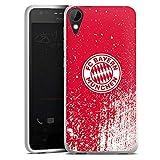 Silikon Hülle kompatibel mit HTC Desire 10 Lifestyle Hülle weiß Handyhülle FC Bayern München Offizielles Lizenzprodukt FCB