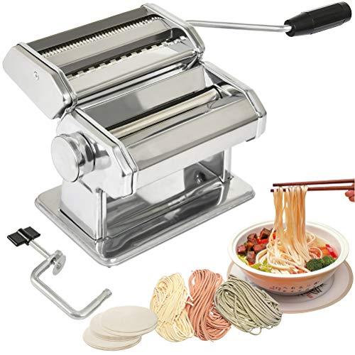QLOUNI Nudelmaschine, Edelstahl, 20x18x12.5 cm, Nudelmaschine Multipast, Pastamaker für Teigplatten, schmale und breite Nudeln, Spaghetti, Italienische Pasta