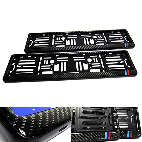 2x Black Genuine Carbon Fibre Fiber UK EU Car Licence Registration Number Plate Holder Surround Frame M Power Motorsport