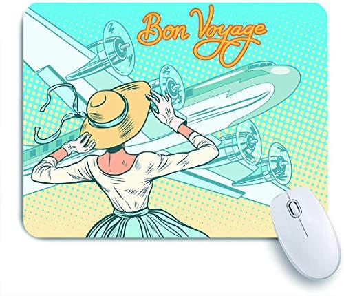 COFEIYISI Retro Lady Escorts Aviones Estilo Pop Art Comic Viajes,Alfombrilla Raton Alfombrilla Gaming Alfombrilla para computadora con Base de Goma Antideslizante para Laptop con computadora