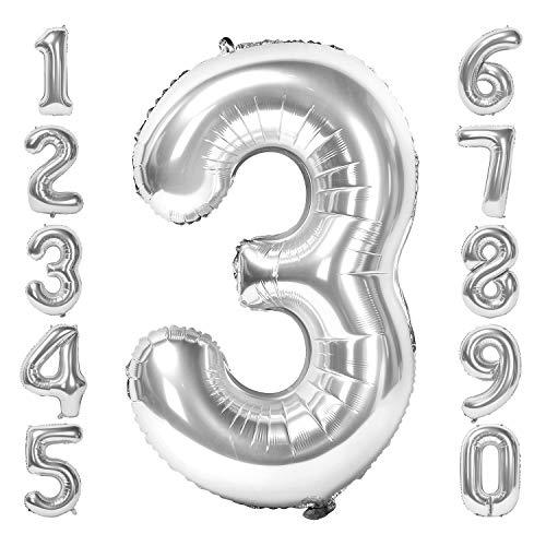 Siumir Silber Number Folienballon Riesenzahl Zahlenballon Zahl 3 Luftballon für Geburtstag, Hochzeit , Jubiläum Party Dekoration