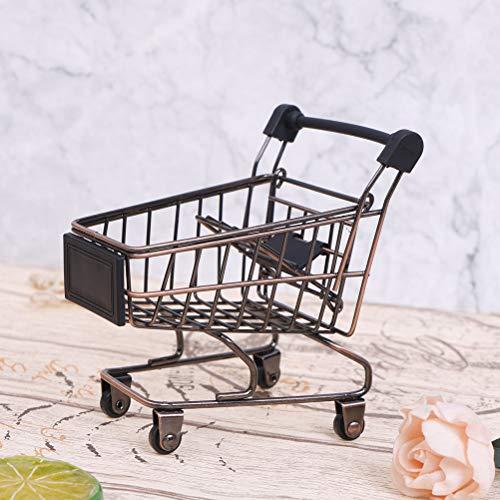NIHAOYA 1 x Mini-Einkaufswagen aus Metall, Supermarkt, Bollerwagen, Kinderspielzeug für Büro, Zuhause, Dekoration, kreative Aufbewahrungswerkzeuge