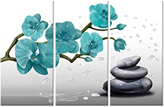 ZingArts 3 Pieces Teal Flower Canvas Wall Art Butterfly Orchid Zen Stone Still Life Spa Artwork Picture Giclee Painting Print for Bathroom Living Room Decoration Ready to Hang 16