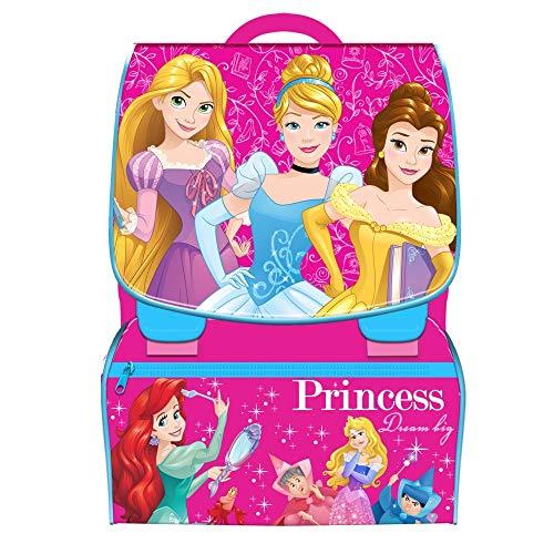 TrAdE Shop Traesio- Zaino Scuola Estensibile Disney Principesse Bambine Scuola + Astuccio Completo