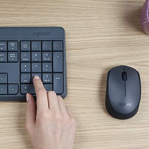Logitech MK235 Kit Mouse e Tastiera Wireless 2.4 GHz Compatibile Windows, con Ricevitore USB Unifying, 15 Tasti Funzione, Batteria Fino a 3 Anni, Layout Italiano QWERTY, Nero
