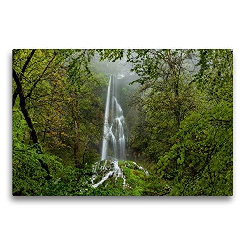 CALVENDO Premium Textil-Leinwand 75 x 50 cm Quer-Format Wasserfall Bad Urach, Leinwanddruck von Wolfgang Trust