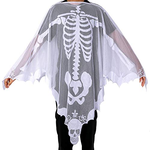 OurWarm Halloween Poncho White Lace Skeleton Poncho for Women, Day of The Dead Costume 60 x 60 Inch