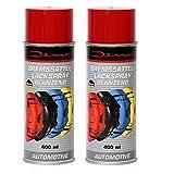 Dino 130010 Bremssattellack 1K Lackspray, Doppelpack 2x 400 ml, Rot