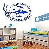 mlpnko Ocean Fish School Pegatinas de Pared decoración de baño Buzos y feroces Peces Tatuajes de Pared Animales Marinos,CJX13338-75x50cm