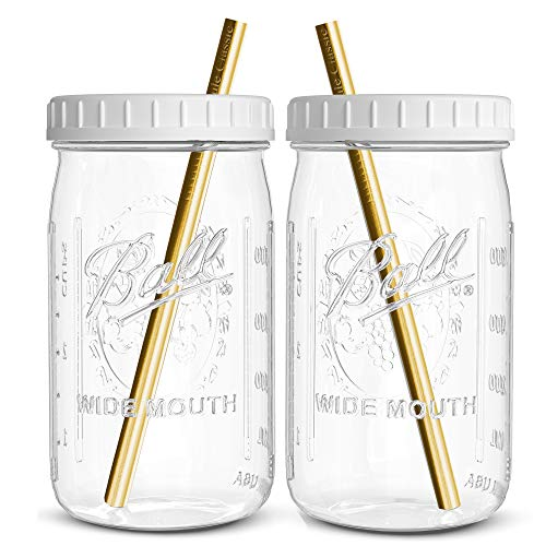 Reusable Wide Mouth Smoothie Cups Boba Tea Cups Bubble Tea Cups with Lids and Gold Straws Ball Mason Jars Glass Cups (2-pack, 32 oz mason jars) Brand Capsule Classic