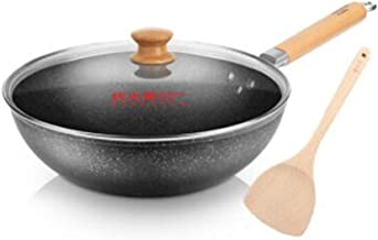 MSWL Wok, Non-stick Pan, Maifan Stone Color, 30cm Pot, Induction Cooker Gas Gas Cooker Open Fire Universal, Wok Pot (Color...