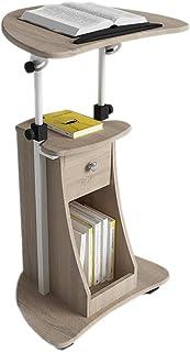 Bureau Permanent Mobile Lutrin réglable en Hauteur Rolling Laptop sur roulettes, avec tiroirs de Rangement pour la présent...
